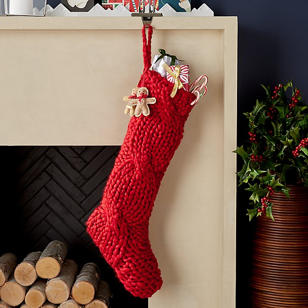Cozy Red Knit Stocking