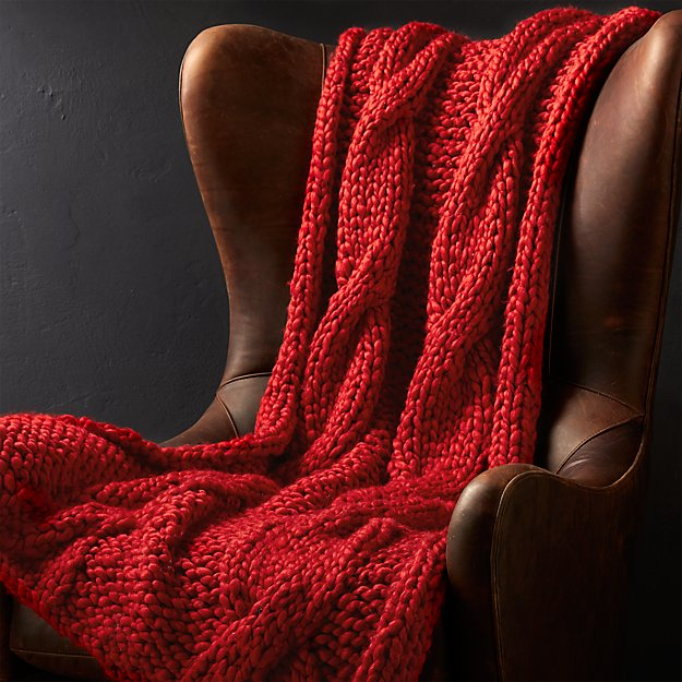 Cozy Knit Red Throw