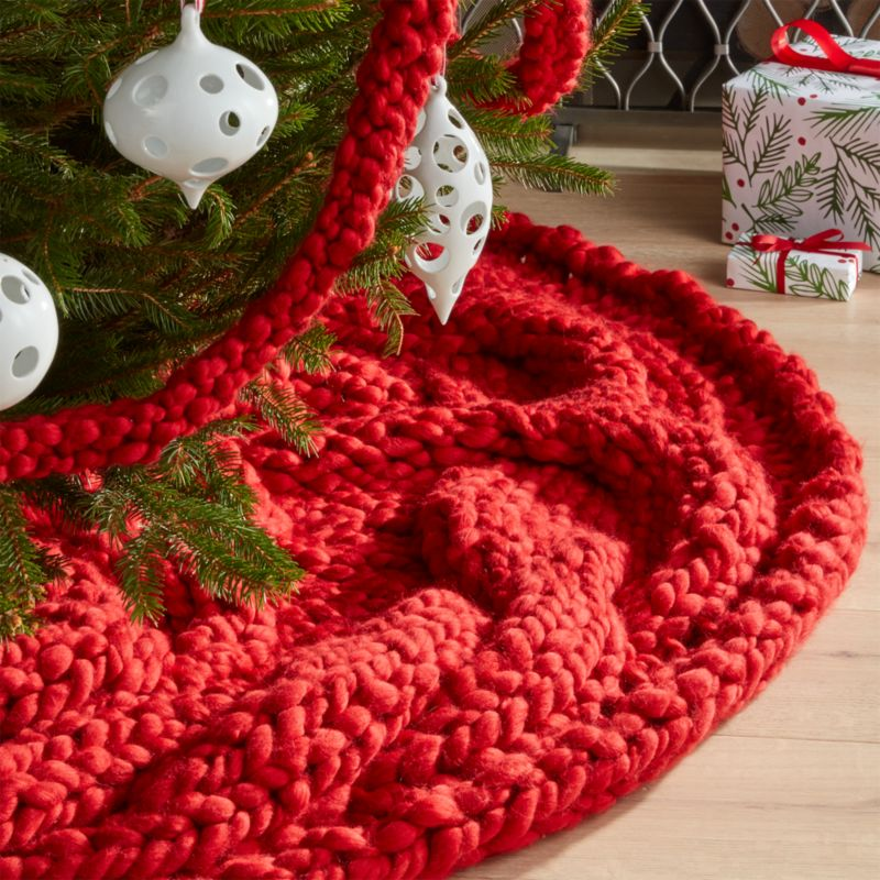 cozy knit red tree skirt - Christmas Tree Skirts