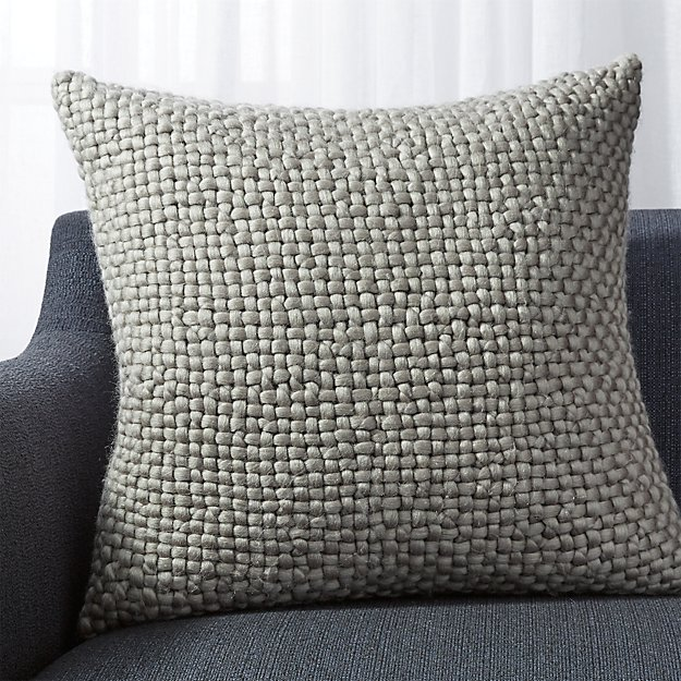 "Cozy Weave Grey Pillow 23"" - Image 1 of 10"