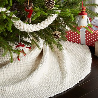 cozy weave ivory tree skirt - Crate And Barrel Christmas Decorations