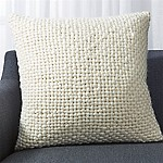 Cozy Weave Ivory Pillow with Feather-Down Insert 23