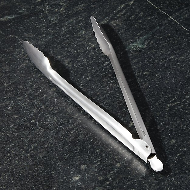 """Crate and Barrel 12"""" Brushed Stainless Steel Tongs - Image 1 of 5"""