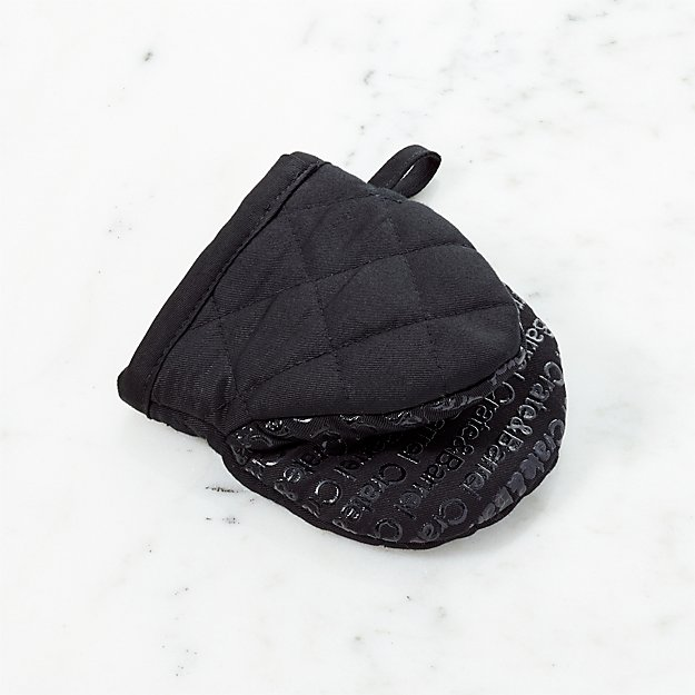 Crate and Barrel Black Mini Oven Mitt with Silicone Grip