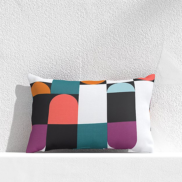 """Circles and Squares Willowherb 20""""x13"""" Outdoor Pillow - Image 1 of 3"""