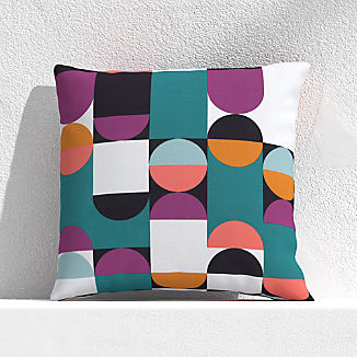 "Circles and Squares Willowherb 20"" Outdoor Pillow"