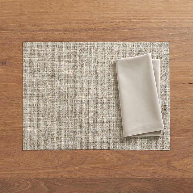 Chilewich ® Crepe Neutral Vinyl Placemat and Fete Dove Cotton Napkin