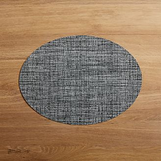 Chilewich Oval Crepe Grey Vinyl Placemat