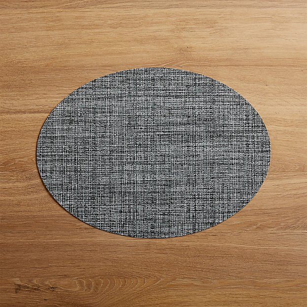 Chilewich Oval Crepe Grey Vinyl Placemat - Image 1 of 1