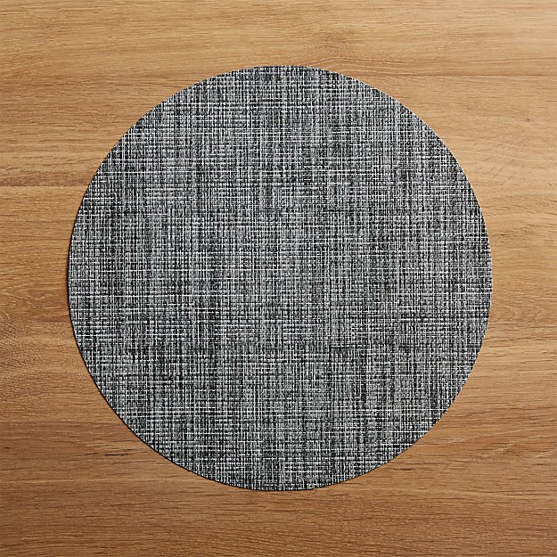 Chilewich Round Crepe Grey Vinyl Placemat - Image 1 of 1