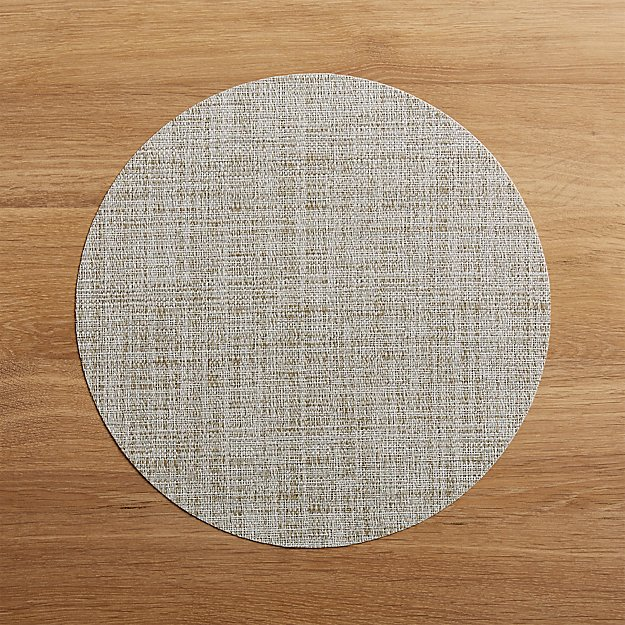 Chilewich Round Crepe Neutral Vinyl Placemat - Image 1 of 1