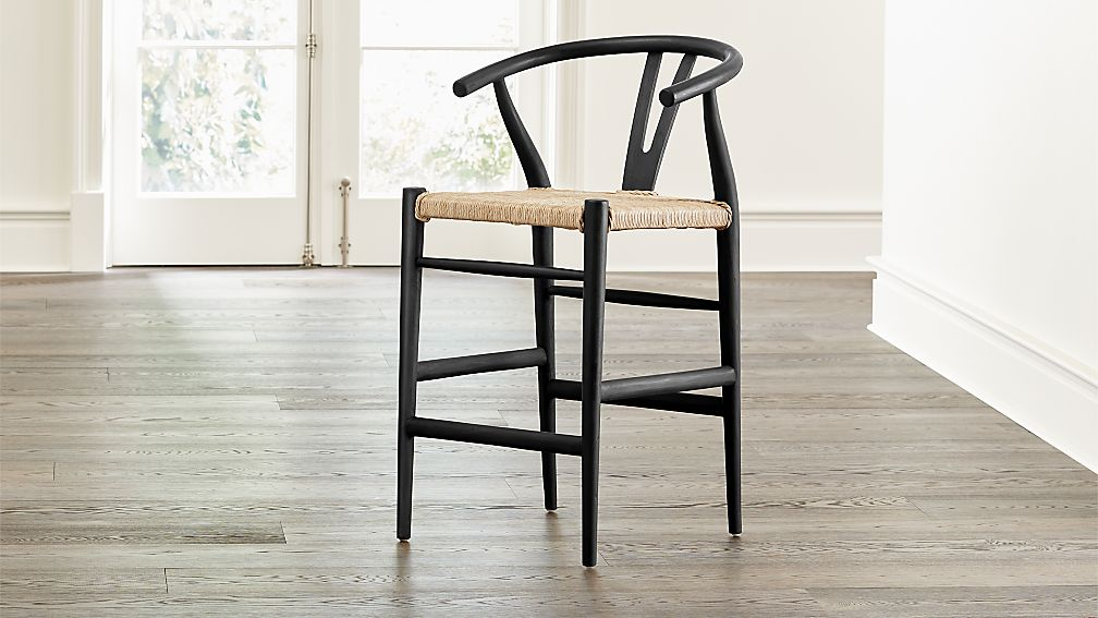 Wondrous Crescent Black Rush Seat Counter Stool Crate And Barrel Machost Co Dining Chair Design Ideas Machostcouk