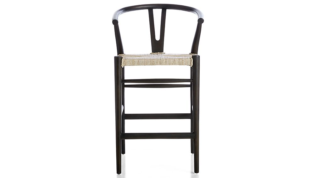 Outstanding Crescent Black Rush Seat Counter Stool Crate And Barrel Machost Co Dining Chair Design Ideas Machostcouk