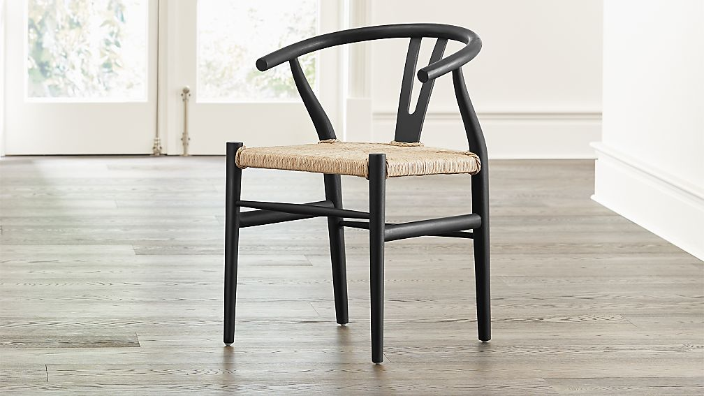 Crescent Black Rush Seat Dining Chair - Image 1 of 11