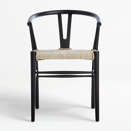 Crescent Black Rush Seat Dining Chair