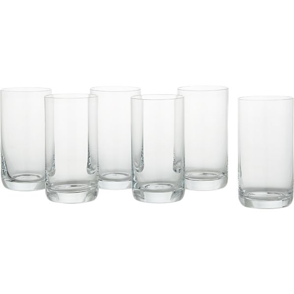 Set of 6 Crescent 12 oz. Highball Glasses