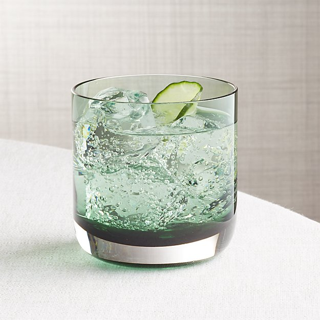 Crescent Smokey Green Double Old-Fashioned Glass
