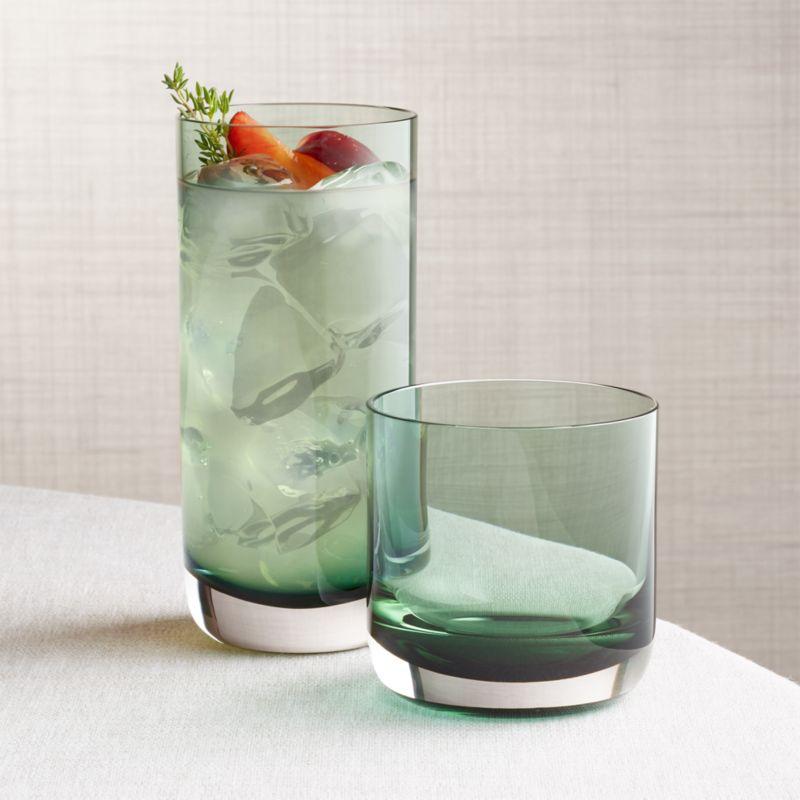 Crescent Green Glasses