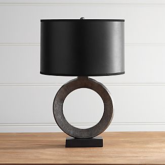 Crest Silver Table Lamp with Black Shade