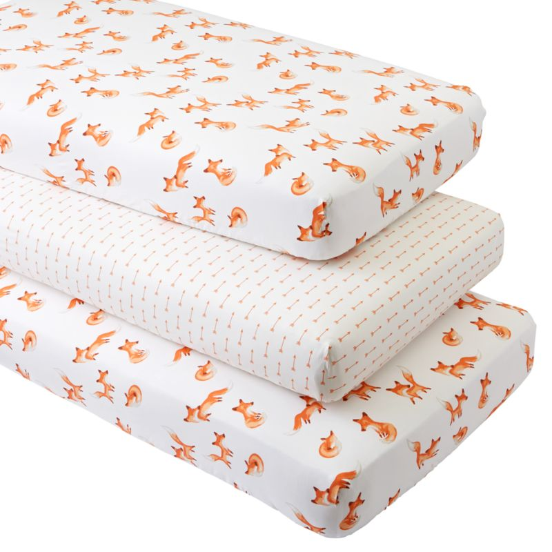 Fox Crib Fitted Sheets Set Of 3 Reviews Crate And Barrel