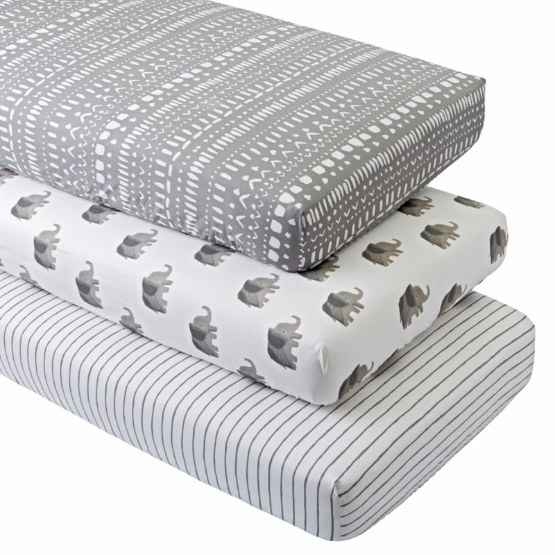 Organic Wild Excursion Elephant Crib Fitted Sheets Set Of