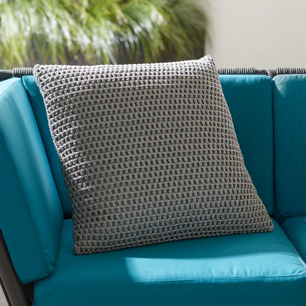 Crochet Pillow Grey - Crate and Barrel