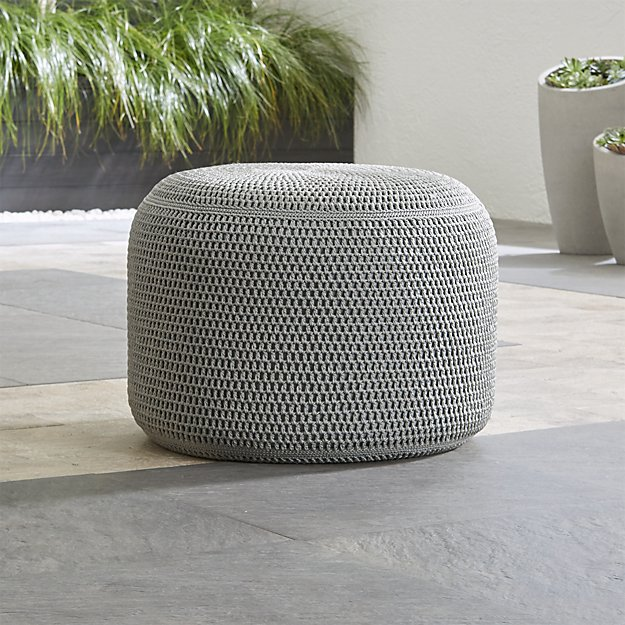 Grey Outdoor Pouf - Image 1 of 7
