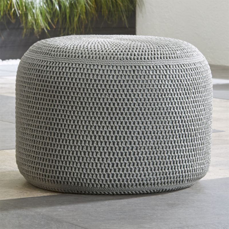 grey outdoor pouf reviews crate and barrel. Black Bedroom Furniture Sets. Home Design Ideas
