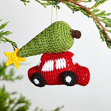 Crochet Christmas Tree.Christmas Car With Tree Crocheted Ornament
