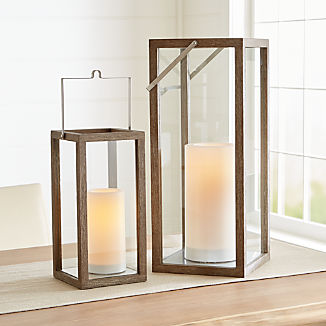 Crosby Grey Teak Lanterns