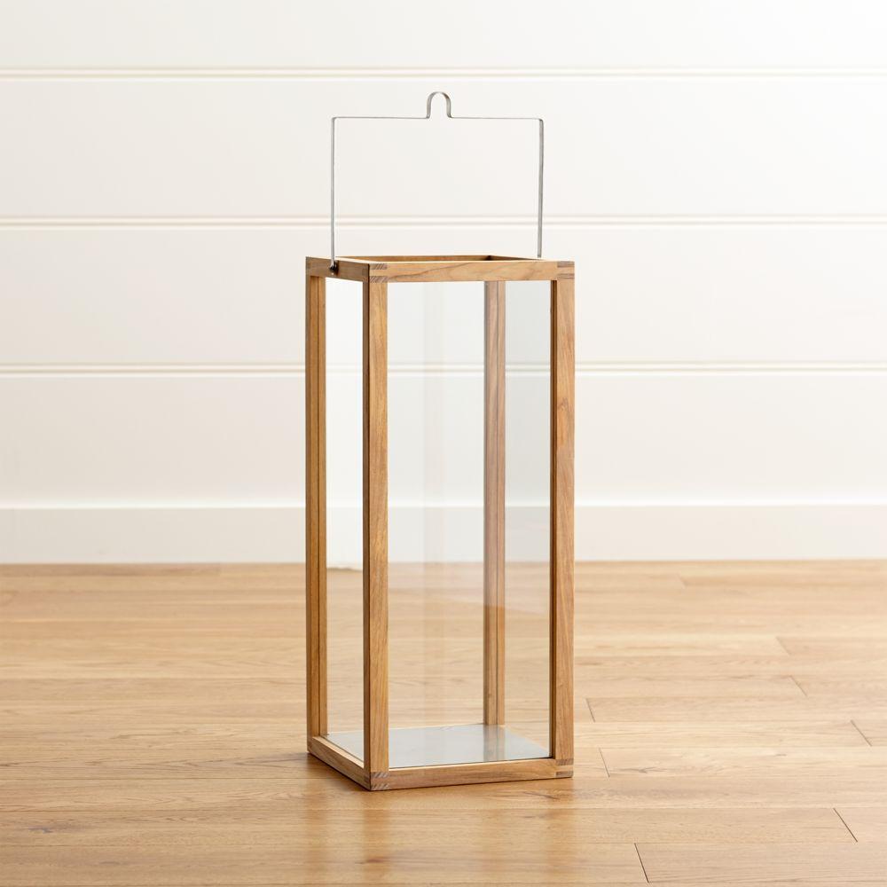 Crosby Large Teak Wood Lantern - Crate and Barrel