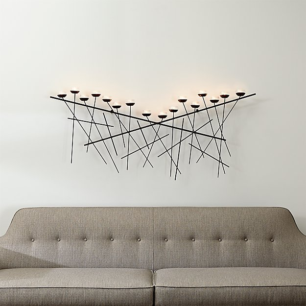 Crosshatch Metal Wall Candle Holder