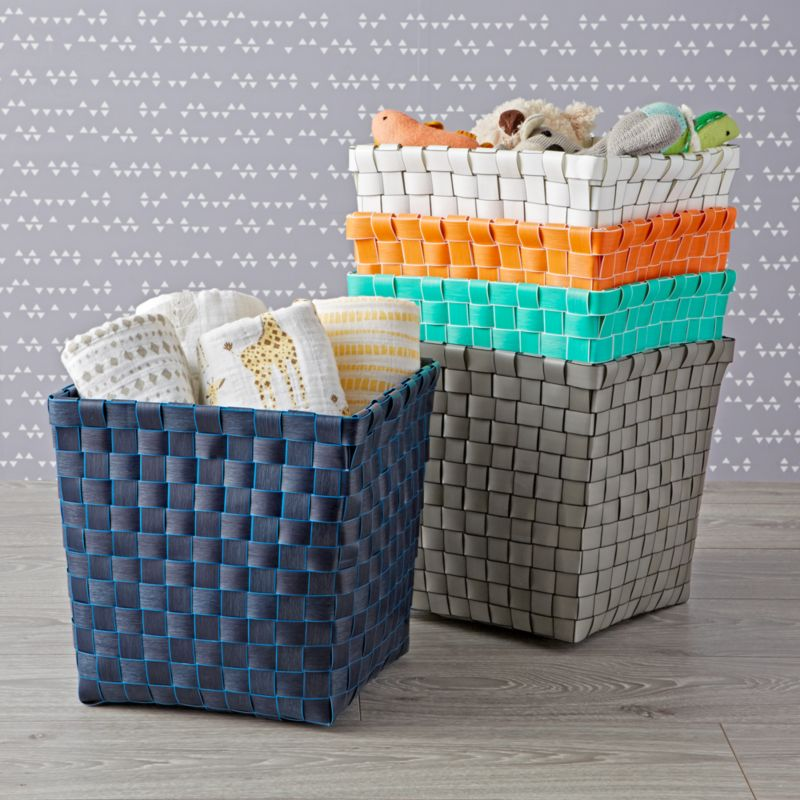 508c6fbbddb Strapping Woven Cube Basket | Crate and Barrel