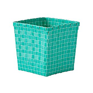 Strapping Woven Teal Cube Basket