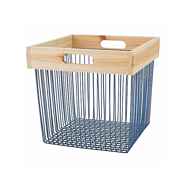 Wire Storage Bin   Blue Wood Wire Storage Bin Reviews Crate And Barrel
