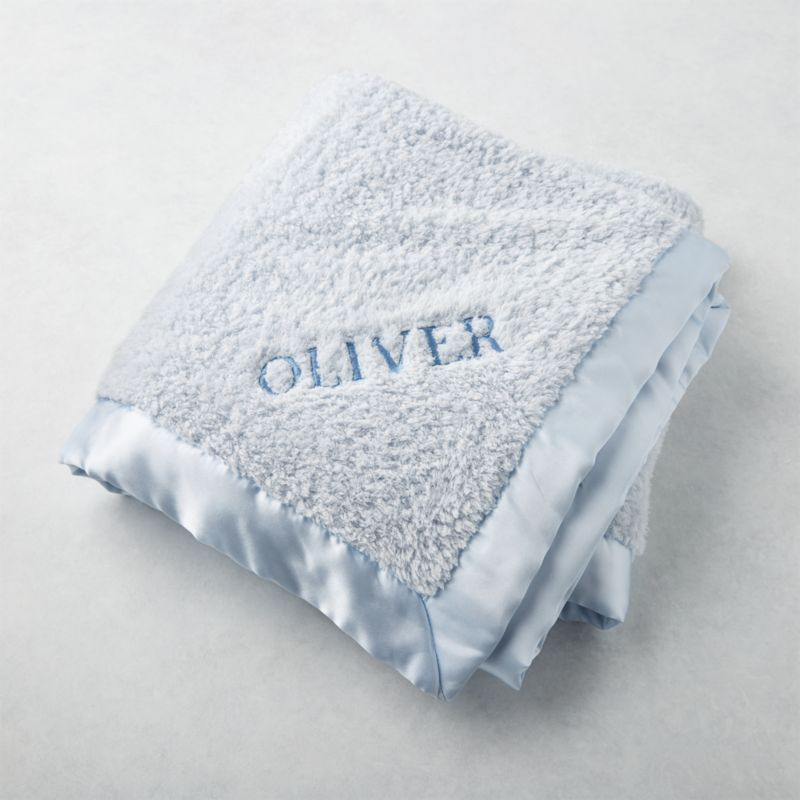 Blue Baby Blanket with Satin Trim + Reviews | Crate and Barrel