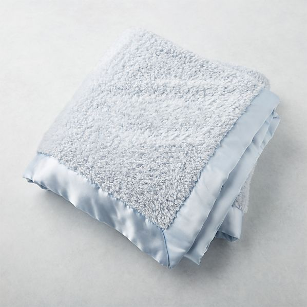 Blue Baby Blanket With Satin Trim Reviews Crate And Barrel