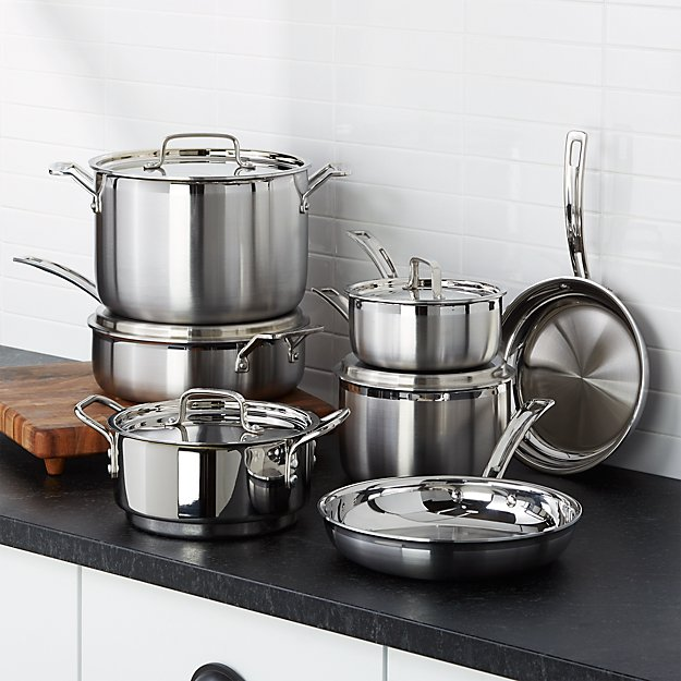 Cuisinart Multiclad Pro Triple Ply Stainless Steel 12 Piece Cookware Set Reviews Crate And Barrel