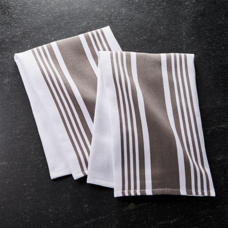 Cuisine Stripe Grey Dish Towels Set Of 2