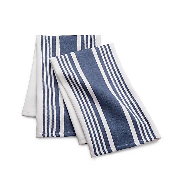 Cuisine Stripe Indigo Blue Dish Towels Set Of 2 In