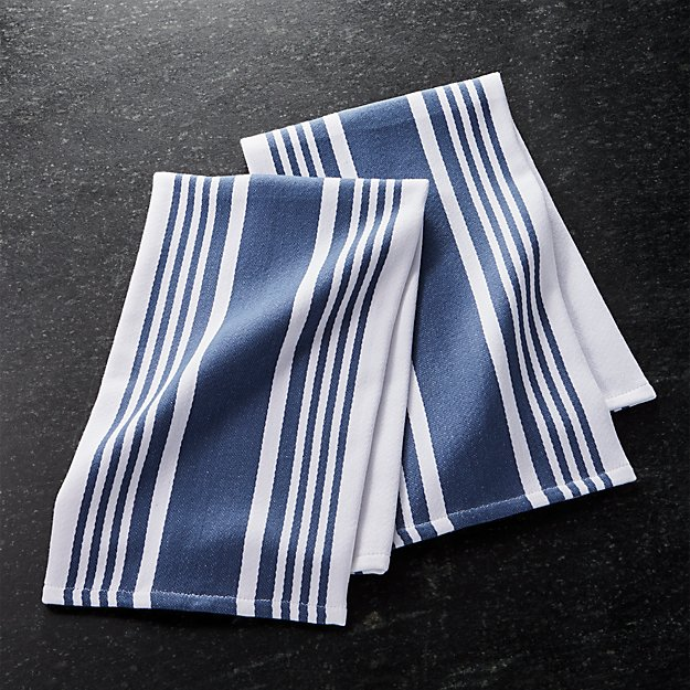 Cuisine Stripe Indigo Blue Dish Towels, Set of 2