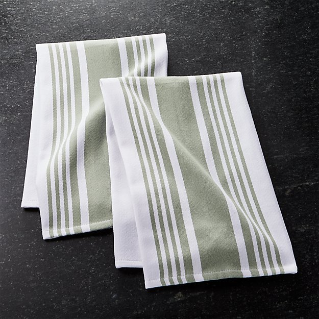 Cuisine Stripe Sage Green Dish Towels, Set of 2
