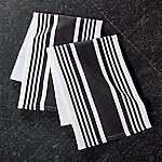 Cuisine Stripe Black Dish Towels, Set of 2