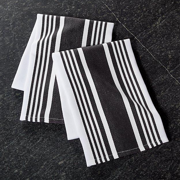Cuisine Stripe Black Dish Towels, Set of 2 - Image 1 of 2