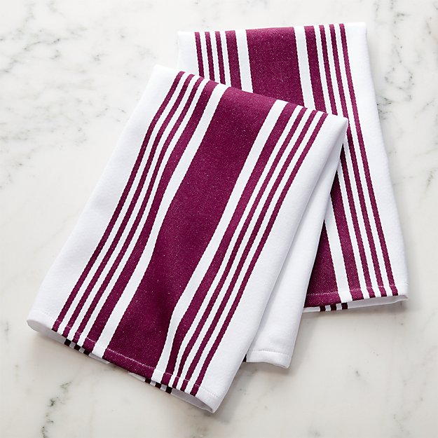 Cuisine Stripe Wine Dish Towels Set Of 2 Reviews Crate And Barrel