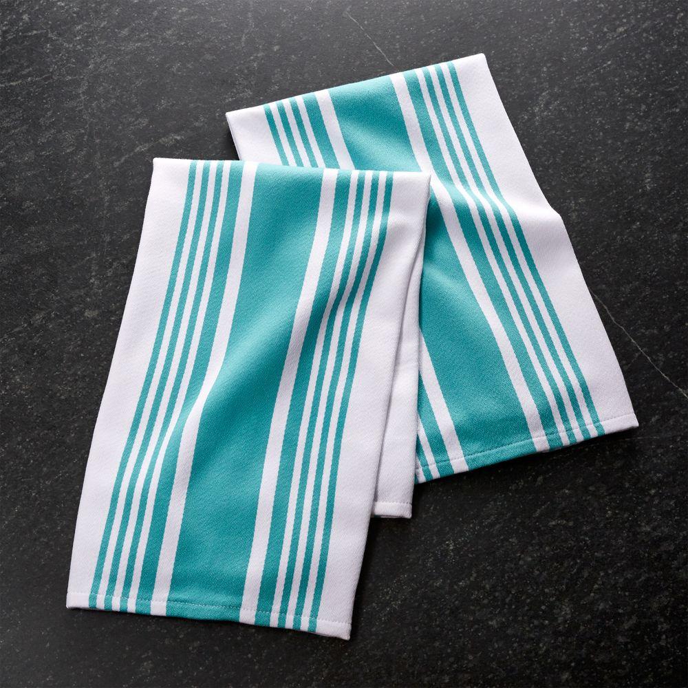 Set of 2 Cuisine Stripe Aqua Dish Towels - Crate and Barrel