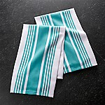 Cuisine Stripe Aqua Dish Towels, Set of 2