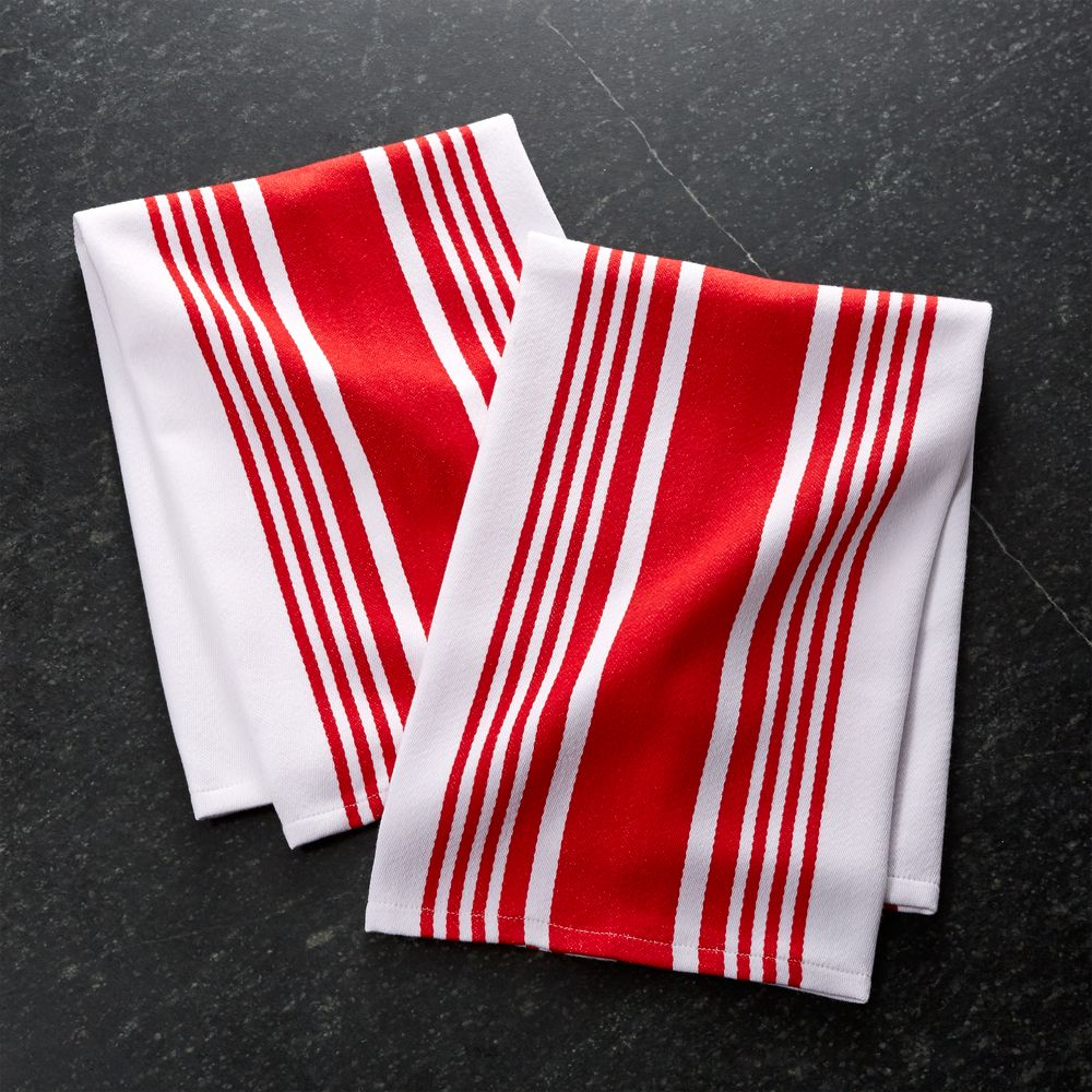Set of 2 Cuisine Stripe Red Dish Towels - Crate and Barrel