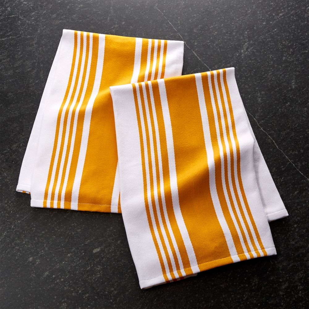 Set of 2 Cuisine Stripe Yellow Dish Towels - Crate and Barrel