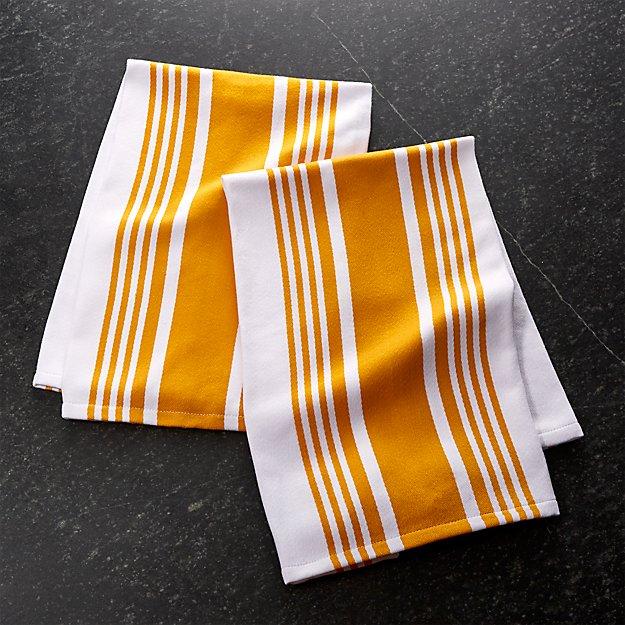 Cuisine Stripe Yellow Dish Towels, Set of 2